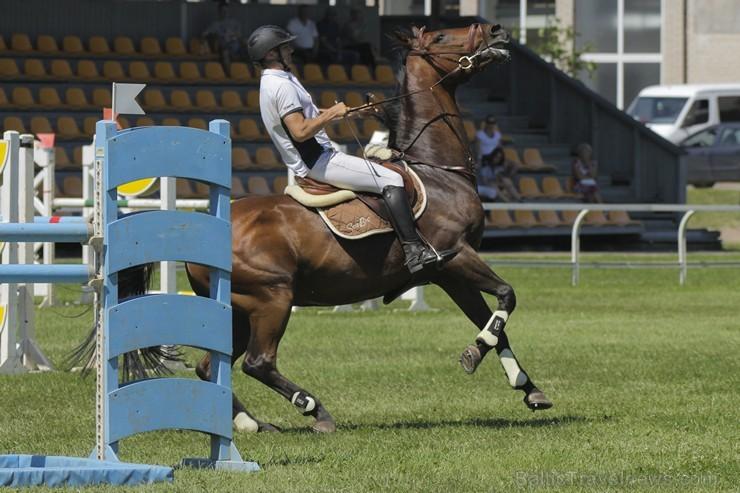 Sacensības jāšanas sportā šķēršļu pārvarēšanā pulcē kuplu dalībnieku skaitu